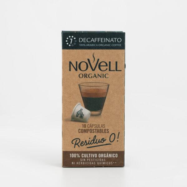 Cápsulas Café Residuo 0 Decaffeinato Cafés Novell frontal