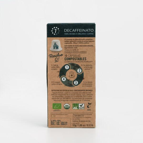 Cápsulas Café Residuo 0 Decaffeinato Cafés Novell ingredientes