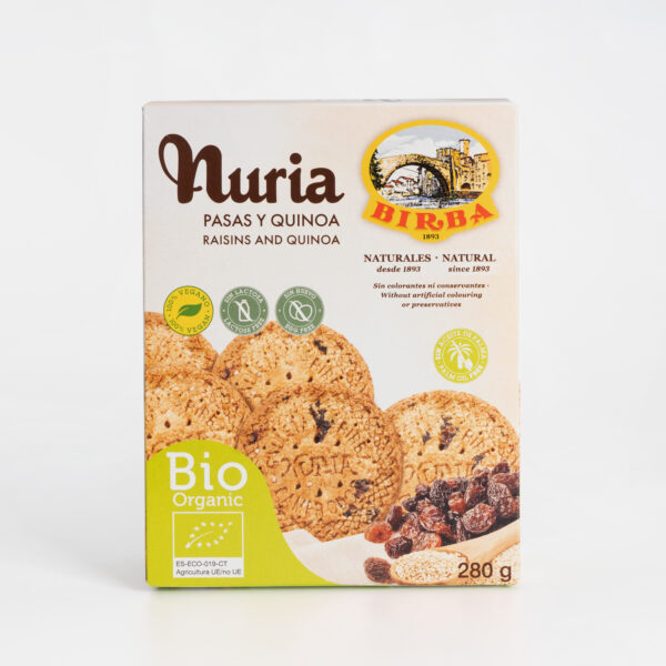 Nuria BIO Pasas y Quinoa Galletas Birba frontal