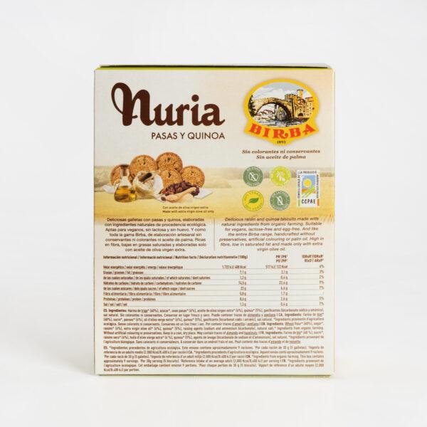 Nuria BIO Pasas y Quinoa Galletas Birba reverso