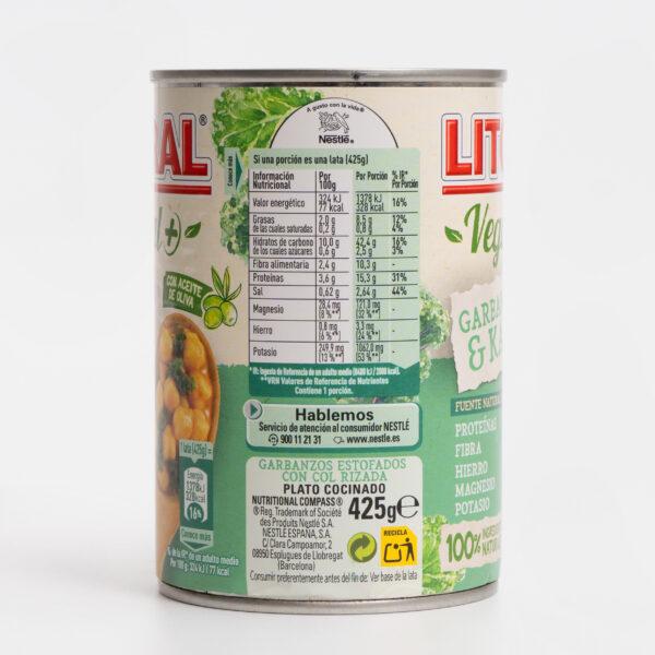Valores nutricionales Litoral Vegetal+ Garbanzos y kale