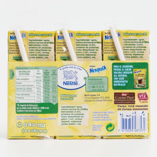 Ingredientes Nesquik Go Vegetal