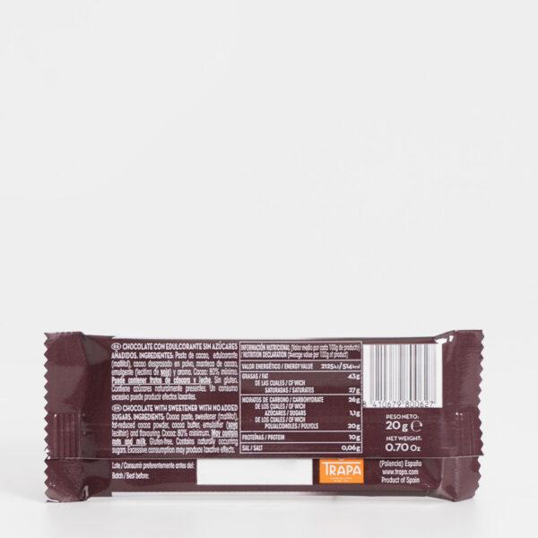 Ingredientes Trapa Mini 80% cacao 0% azúcares