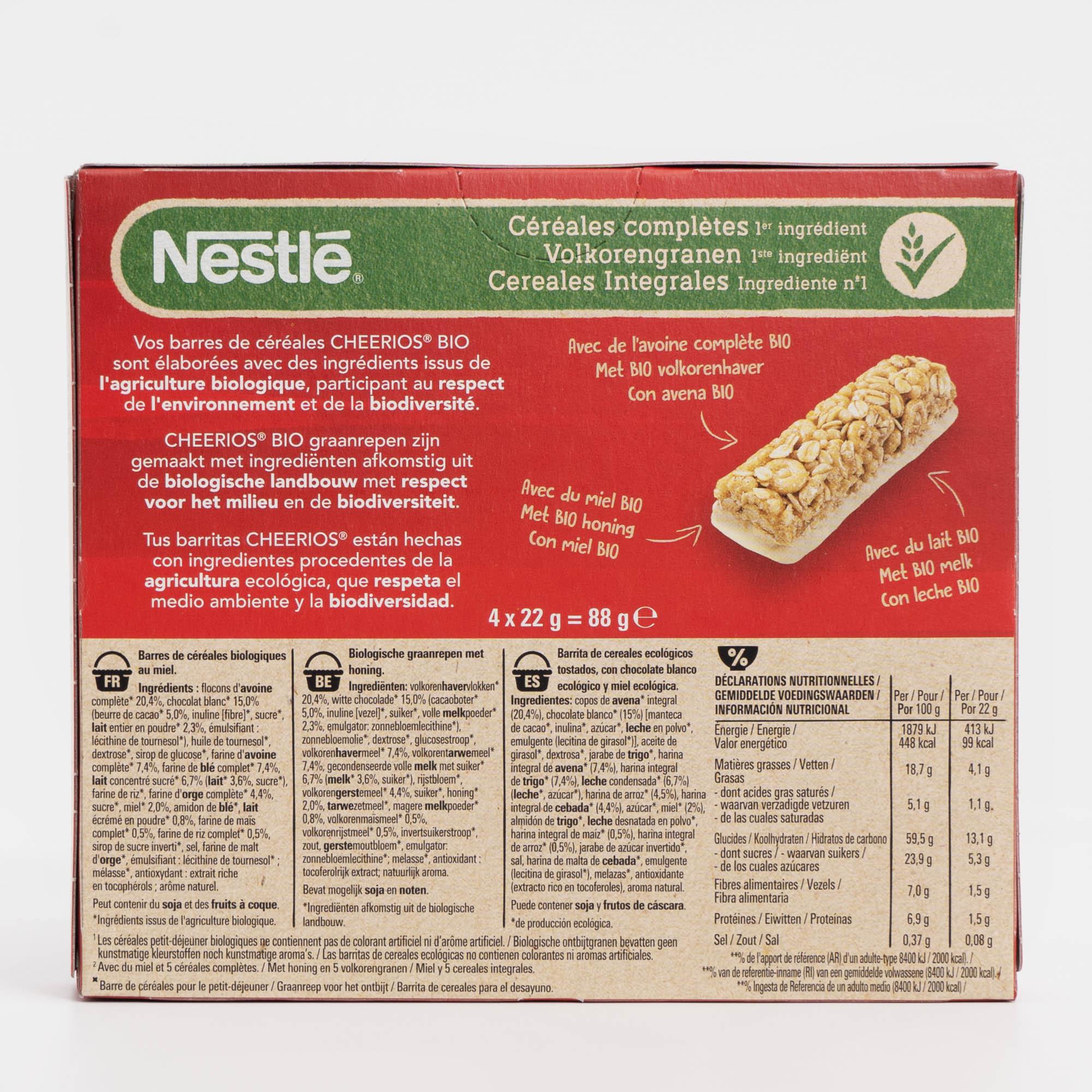 Ingredientes Barritas Cheerios BIO
