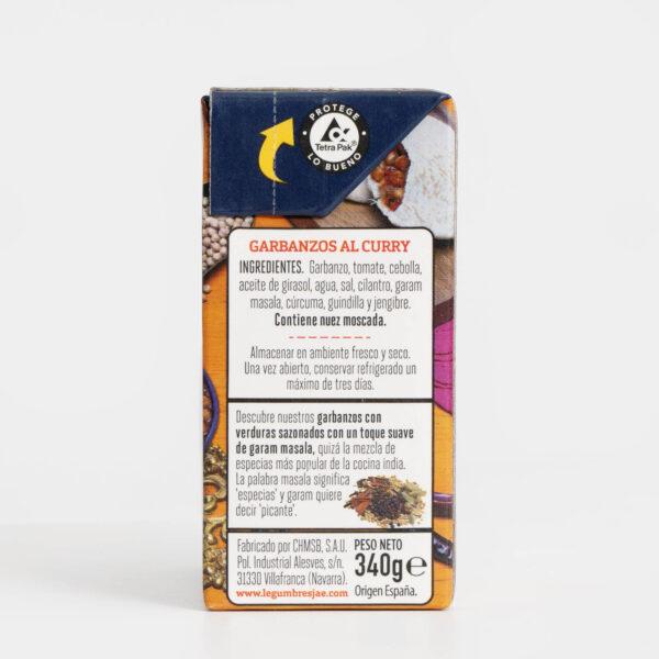 Ingredientes Garbanzos al curry JAE